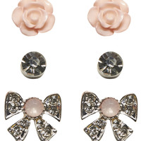 Roses & Bows Earring Set | Wet Seal