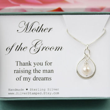 Gift for Mother of the Groom gift thank you for raisig the man of my dreams silver necklace wedding party gift for groom's mother from Bride