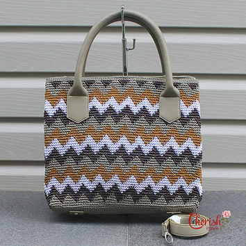 Exe Tribal Exotic Crochet Tote/Crochet handbag/ Ethnic bag/Crochet leather bag/Tote/Handbag/Chevron pattern/colorful/Exotic/Beige /orange
