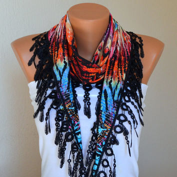 Tribal print cotton scarf headband necklace cowl with lace edge women scarves gift for her birthday gifts girly accessories women's fashion