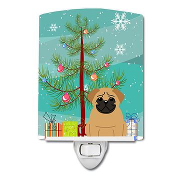 Merry Christmas Tree Pug Brown Ceramic Night Light BB4132CNL