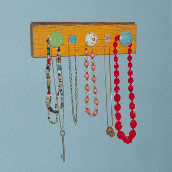 Jewelry Rack Made from Reclaimed Wood with Colorful Knobs