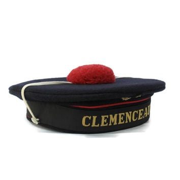 French Beret Sailor Hat with Red Pompom. Vintage French Navy Uniform from Warship Aircraft Carrier CLEMENCEAU. Beach Decor.