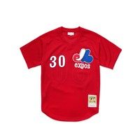 Mitchell & Ness Men's Tim Raines Authentic Mesh BP Jersey - Scarlet
