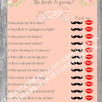 Printable rustic bridal shower/couples shower game - How well do you know the bride and groom? Automatic download