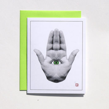 Hamsa Hand Card - Greeting Card - Invitation - Thank You Card - Mini Art - Green Eye - FREE SHIPPING