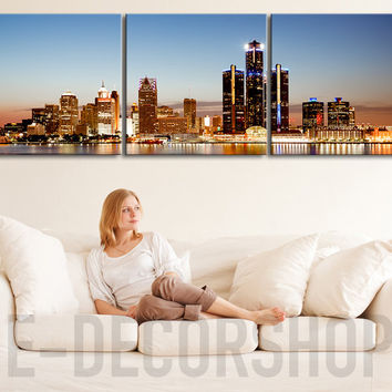LARGE Wall Art CANVAS ART Detroit Skyline Printing - Office Decoration | Canvas Triptych Painting Detroit Skyline Print