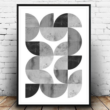 Minimalist abstract print, geometric art print, scandinavian print, black and white, watercolor abstract, geometric poster, modern wall art