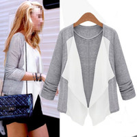 Collarless 3/4 Sleeve Color Blocking Womens Thin Cardigan Top Outerwear Leisure