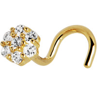 Solid 14KT Yellow Gold Clear CZ Flower Nose Screw Ring | Body Candy Body Jewelry