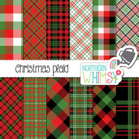 Christmas Plaid Digital Paper – scrapbook paper with plaid patterns & buffalo checks - red and green Christmas digital paper -commercial use