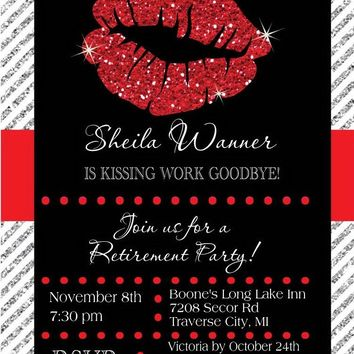 Lips Retirement Party Invitations