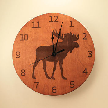 Moose laser cut clock Deer clock Wood clock Nature clock Wooden wall clock Hunting decor Hunting gift Home clock Moose decor Wildlife clock