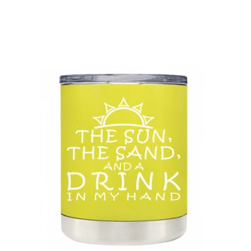 TREK The Sun The Sand and a Drink in my Hand on Yellow 10 oz Lowball Tumbler