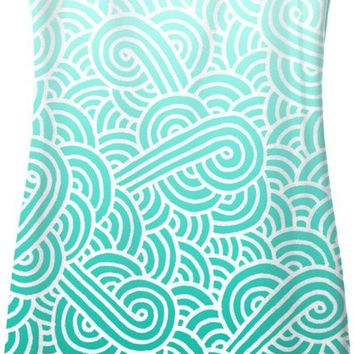 Ombre turquoise blue and white swirls doodles Simple Dress