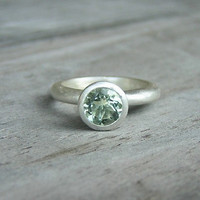 Gemstone Solitaire Ring in Recycled Sterling Silver, Sage Green Gemstone, Birthstone Jewelry