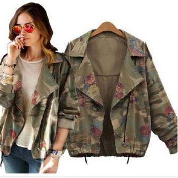 women's army green camouflage  zipper cardigans denim jacket coat winter clothings = 1929999428