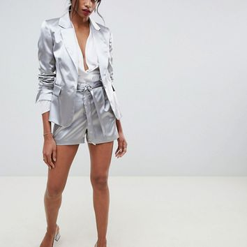 Oasis occasion tailored shimmer blazer & shorts two-piece | ASOS