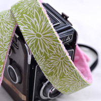 dSLR Camera Strap - Lime Floral with Pink Minky
