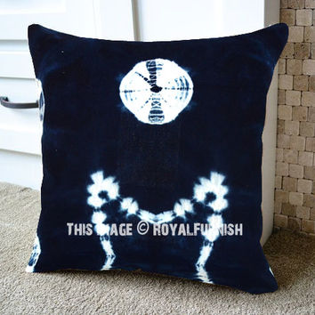 Decorative Blue Indigo Throw Pillow Cover 16x16 Inch on RoyalFurnish.com