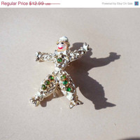 Vintage man clown gold pin brooch with tophat
