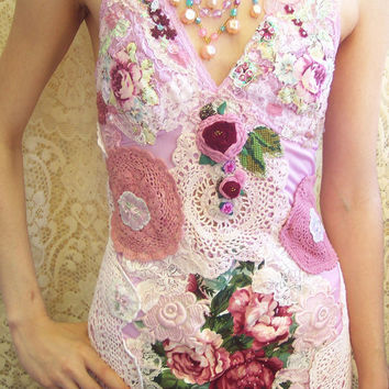 Vintage Glamour Rose Lace Dress - Velvet and Embellished Lace - Size X-Small / Small