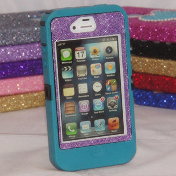 iPhone 4 Glitter Case Otterbox Defender Teal/Orchid Purple Custom Cute Sparkly Bling iPhone 4S Case