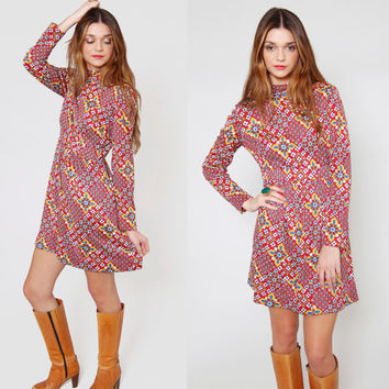 Vintage 70s BABYDOLL Mini Dress Long Sleeve MOD Burgundy Psychedelic Print Hippie Dress