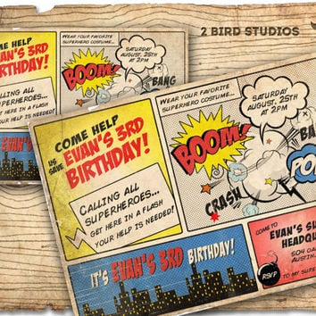 Superhero Invitation / VINTAGE Superhero birthday invite - DIY vintage comic book printable invitation