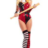 Mean Little Harlequin Bunny Costume
