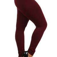 Solid Fleece Lined Winter Leggings Plus Size