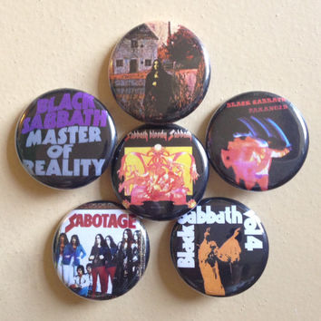 "Black Sabbath pin back buttons 1.25"" set of 6"