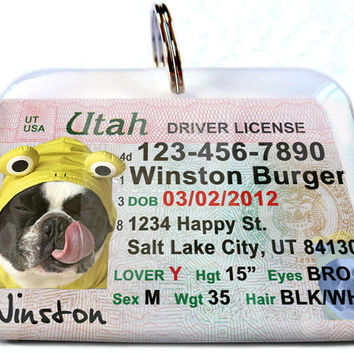 Utah driver license Personalized Custom ID Tags for dogs and cats Double Sided pet tags