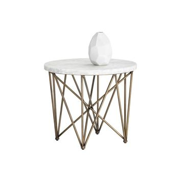 SKY ANTIQUE BRASS FINISH FRAME WITH CARRARA TOP END TABLE