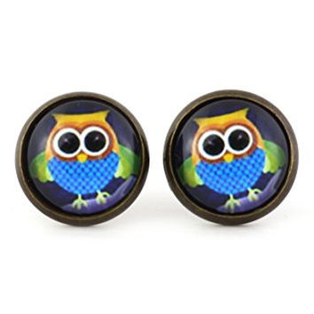 Vintage Owl Stud Earrings Antique Gold Tone EM39 Retro Bird Wildlife Art Posts Fashion Jewelry