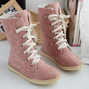 Candy Color Round Toe Lace Up Half Martin Boots