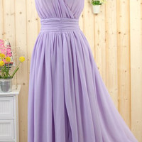 Plunging Neck Ruffled Chiffon Maxi Dress
