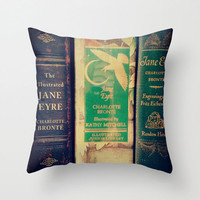 Jane Eyre Pillow - Charlotte Bronte, Decor, Bedding, Couch Pillow, Victorian, Library, books, librarian, teacher, gothic