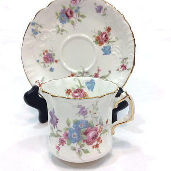 Royal Hammersley Tea Cup, Can Coffee Cup, Pink Roses, Blue Purple Flowers, Rose Gold Rims, Molded China, Shabby Chic, Vintage English China