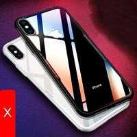 Luxury Slim Clear Soft Edge Phone Case for iPhone X 8 7 6 6S Plus Transparent Acrylic Explosion-proof Back Cover [Support Wirele