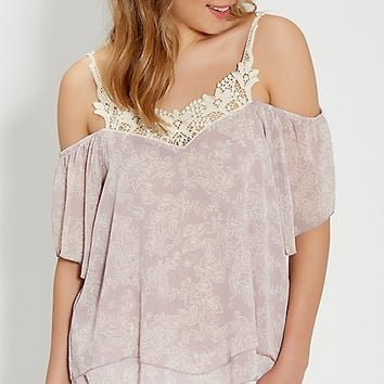 cold shoulder top with crochet in floral and paisley print | maurices