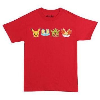 Pokemon Generation VI Starter Pack Faces Licensed Adult T-Shirt - Red - XXL