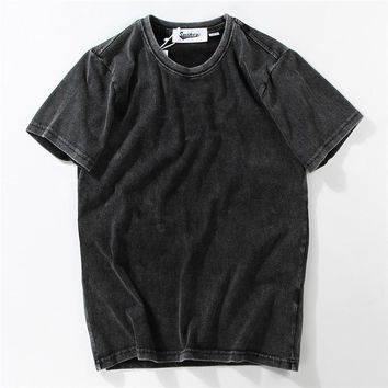 Cotton Short Sleeve Vintage T-shirts [10713510403]