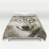 Smokey Sketched Wolf Duvet Cover by Inspired Images