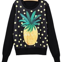 Black Polka Dot Print Round Neck Long Sleeve Pullover Cute Pineapple Loose Fall Chunky Knit Sweater