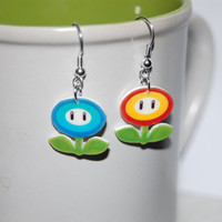 Mario Galaxy Fire and Ice Flower earrings