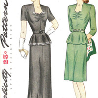 1940s Misses Dress OnePiece Daytime and Evening by MissBettysAttic