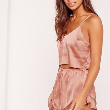 Missguided - Cropped Cami Pj Set Pink
