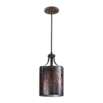 Akron One Light Rustic Washed Copper Pendant Lighting Fixture by Uttermost