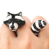 Raccoon Shaped Enamel Animal Wrap Ring in US Size 8 | Limited Edition